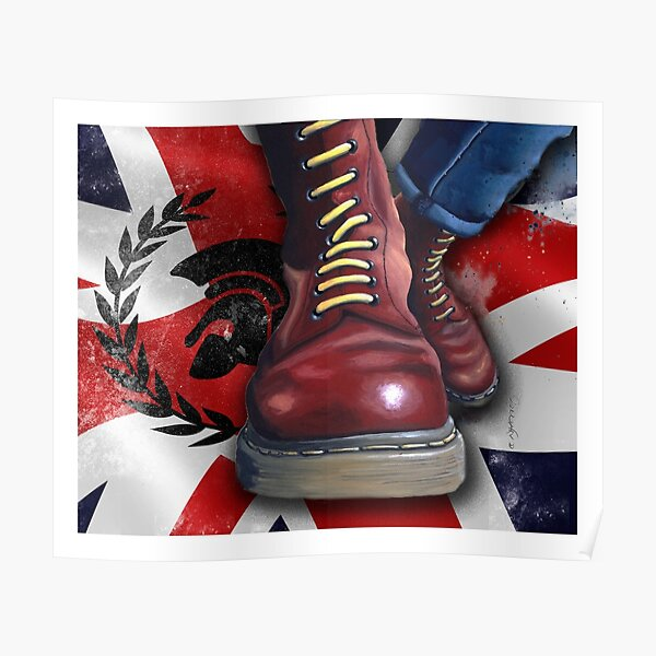 Skinhead Doc Martens with Trojan logo and Union Flag Poster