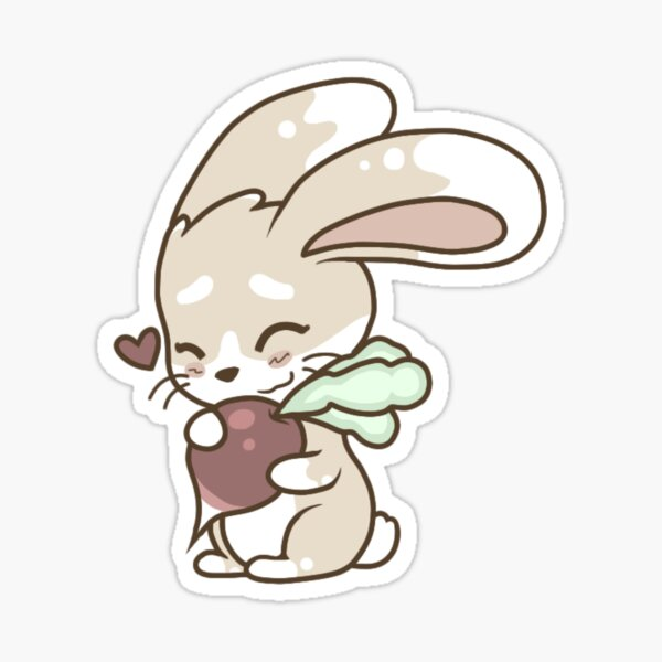 Cute Bunny Loves Radish Sticker