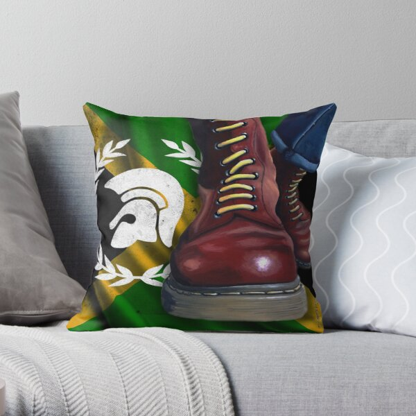 Cherry Red Doc Martens with trojan logo and jamaican flag Throw Pillow