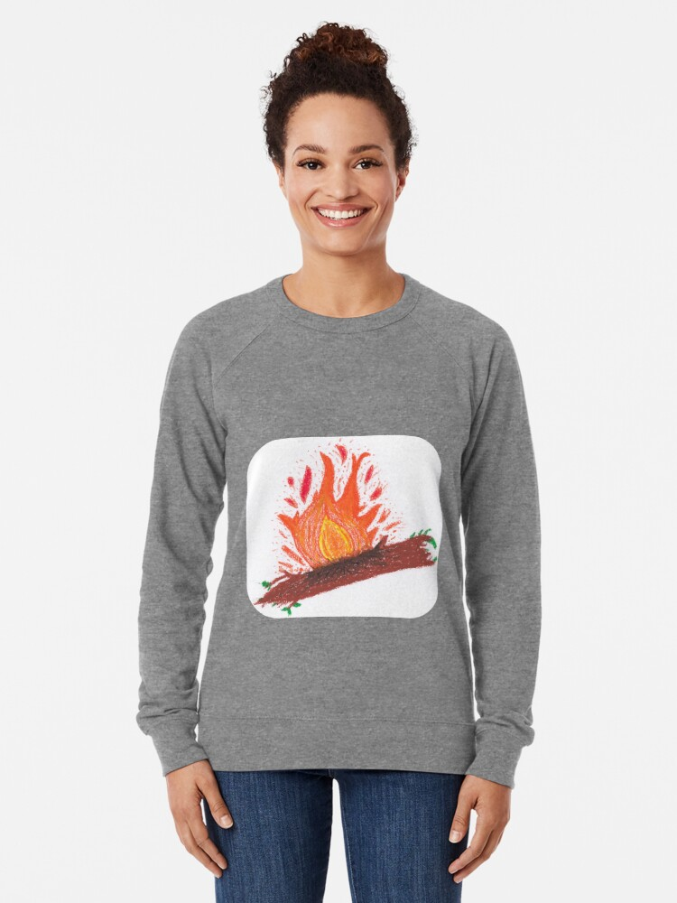 Alternate view of Merch #23 -- Log On Fire Lightweight Sweatshirt