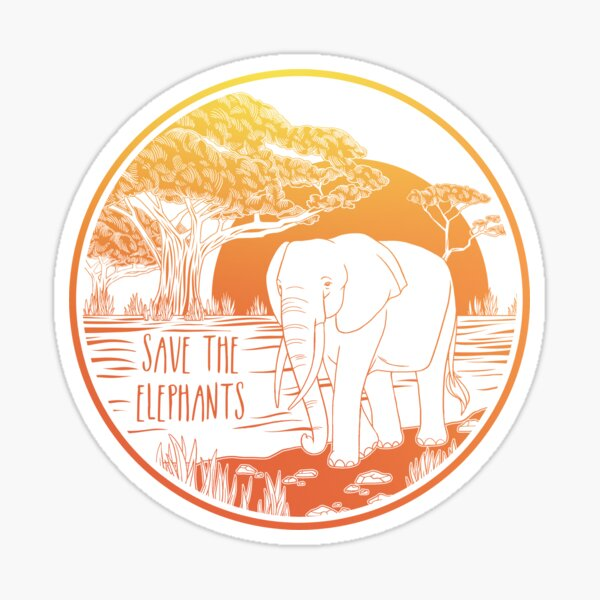 Save the Elephants! Sticker