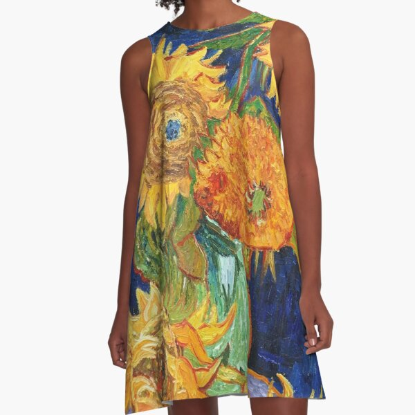 Van Gogh, Five Sunflowers 1888 Artwork Reproduction, Posters, Tshirts, Prints, Bags, Men, Women, Kids A-Line Dress