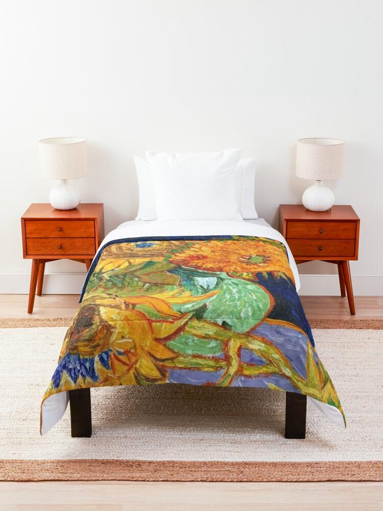 Alternate view of Van Gogh, Five Sunflowers 1888 Artwork Reproduction, Posters, Tshirts, Prints, Bags, Men, Women, Kids Comforter