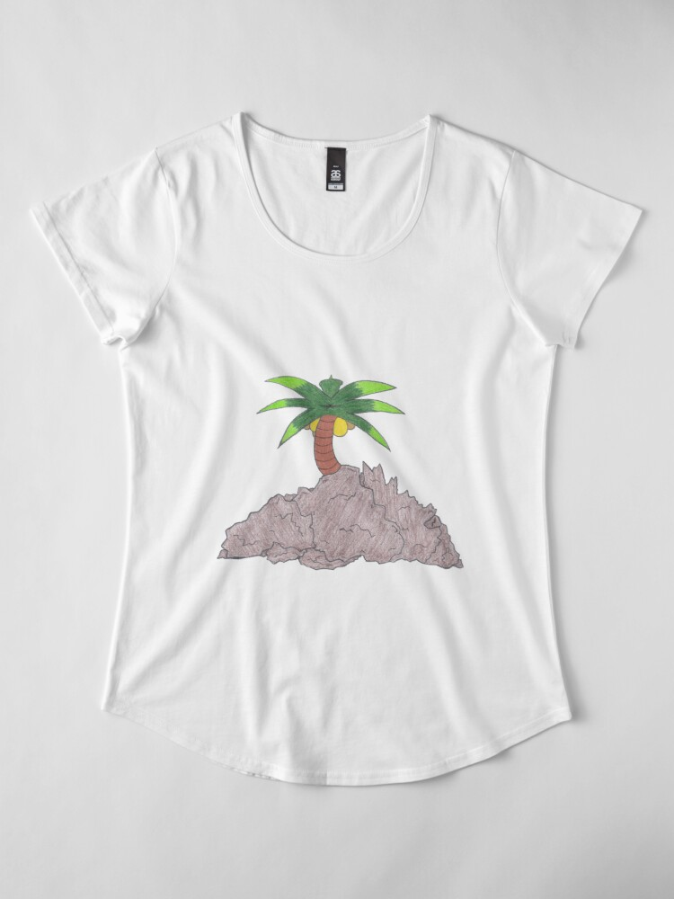Alternate view of Merch #19 -- Palm Atop The Rugged Embankment Premium Scoop T-Shirt