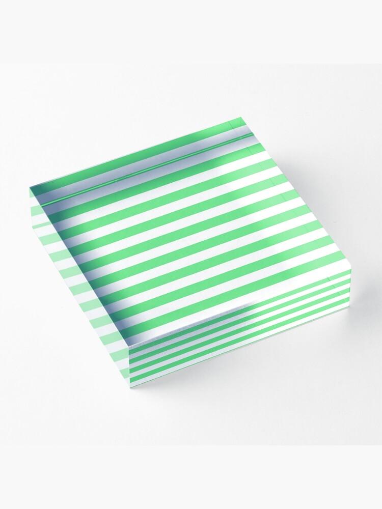 Alternate view of Algae Green and White Horizontal Beach Hut Stripes Acrylic Block