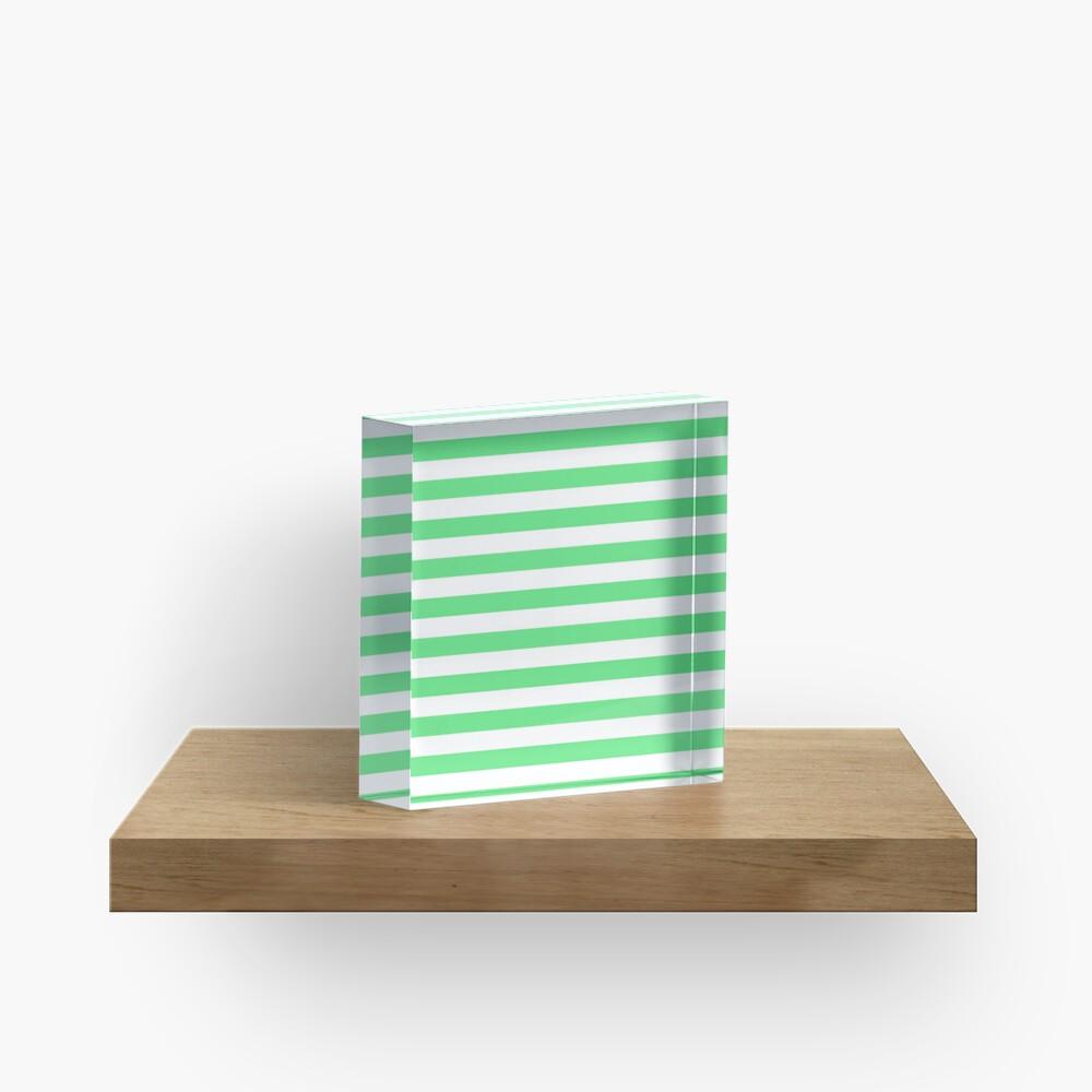 Algae Green and White Horizontal Beach Hut Stripes Acrylic Block