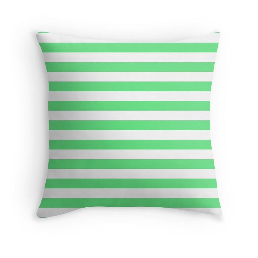 Algae Green and White Horizontal Beach Hut Stripes