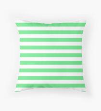 Algae Green and White Horizontal Beach Hut Stripes Throw Pillow
