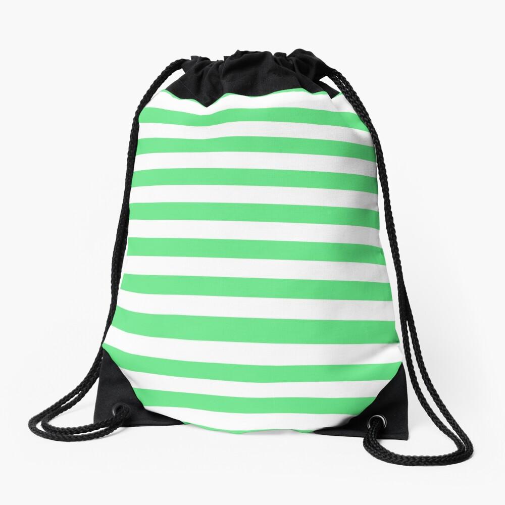 Algae Green and White Horizontal Beach Hut Stripes Drawstring Bag