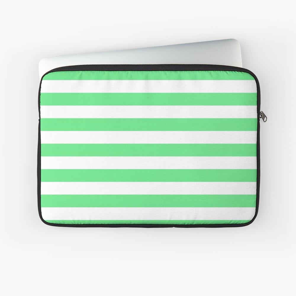 Algae Green and White Horizontal Beach Hut Stripes Laptop Sleeve