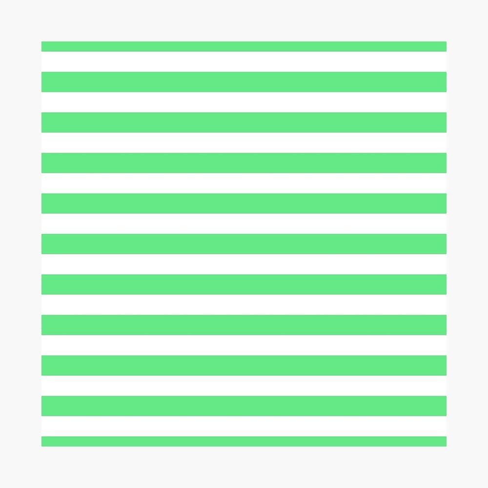 Algae Green and White Horizontal Beach Hut Stripes Photographic Print