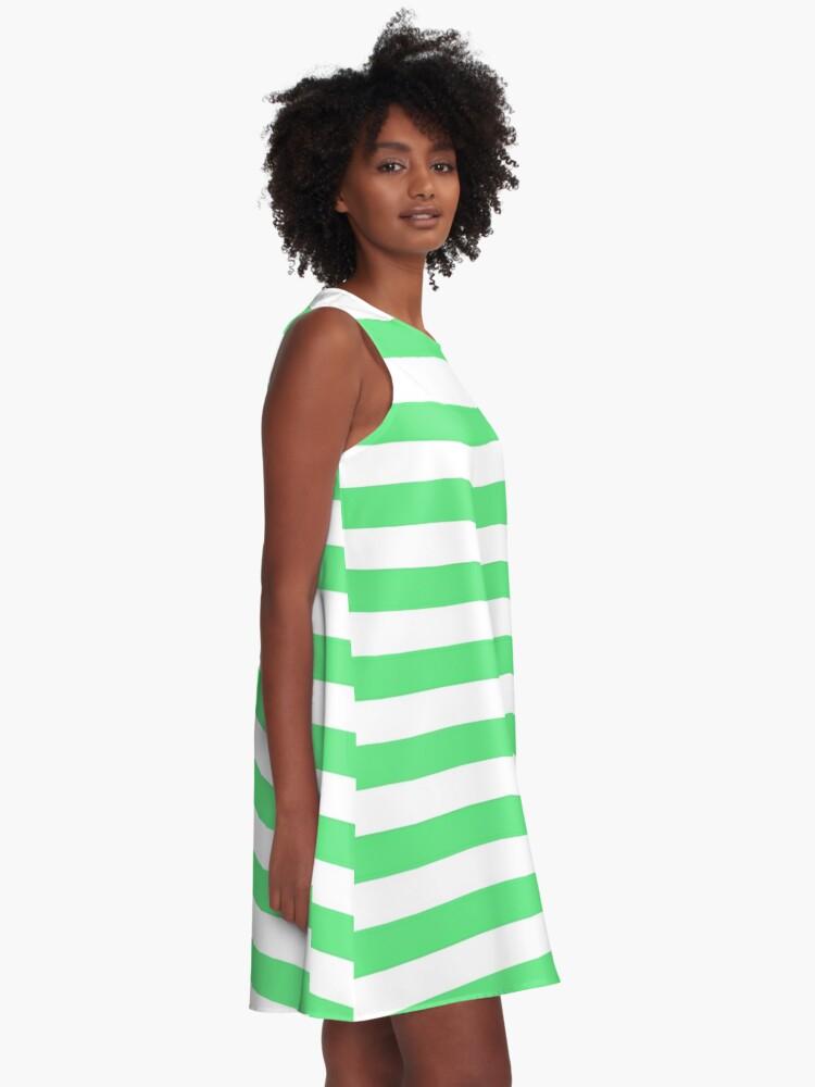 Alternate view of Algae Green and White Horizontal Beach Hut Stripes A-Line Dress
