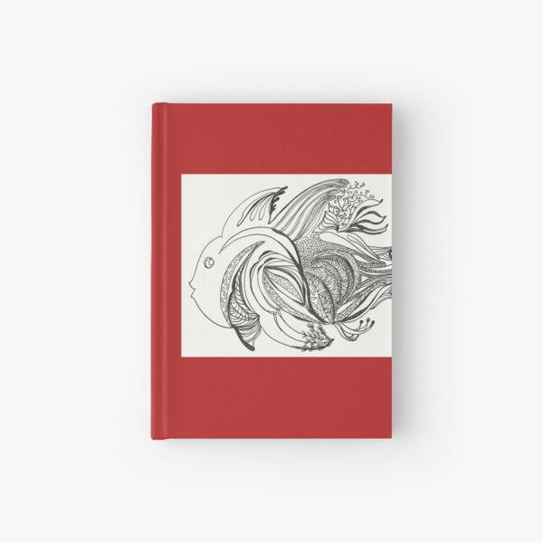 Fish Number 1, black & white, illustration, flying solo Hardcover Journal