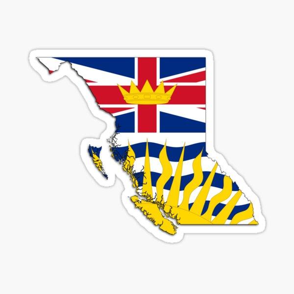 British Columbia Flag Map  Sticker
