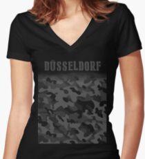 Camiseta entallada de cuello en V Ejército de Alemania Dusseldorf camuflaje militar solier Camo