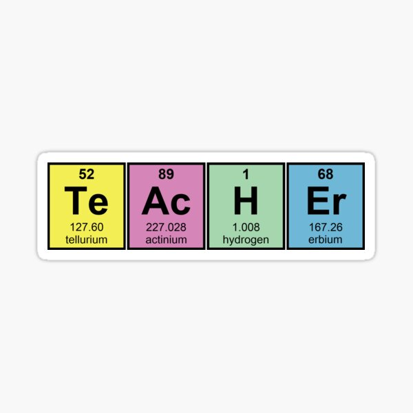 Science Teacher Chemical Elements Sticker