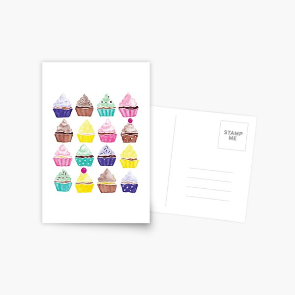 Watercolour Cupcakes Pattern Postcard