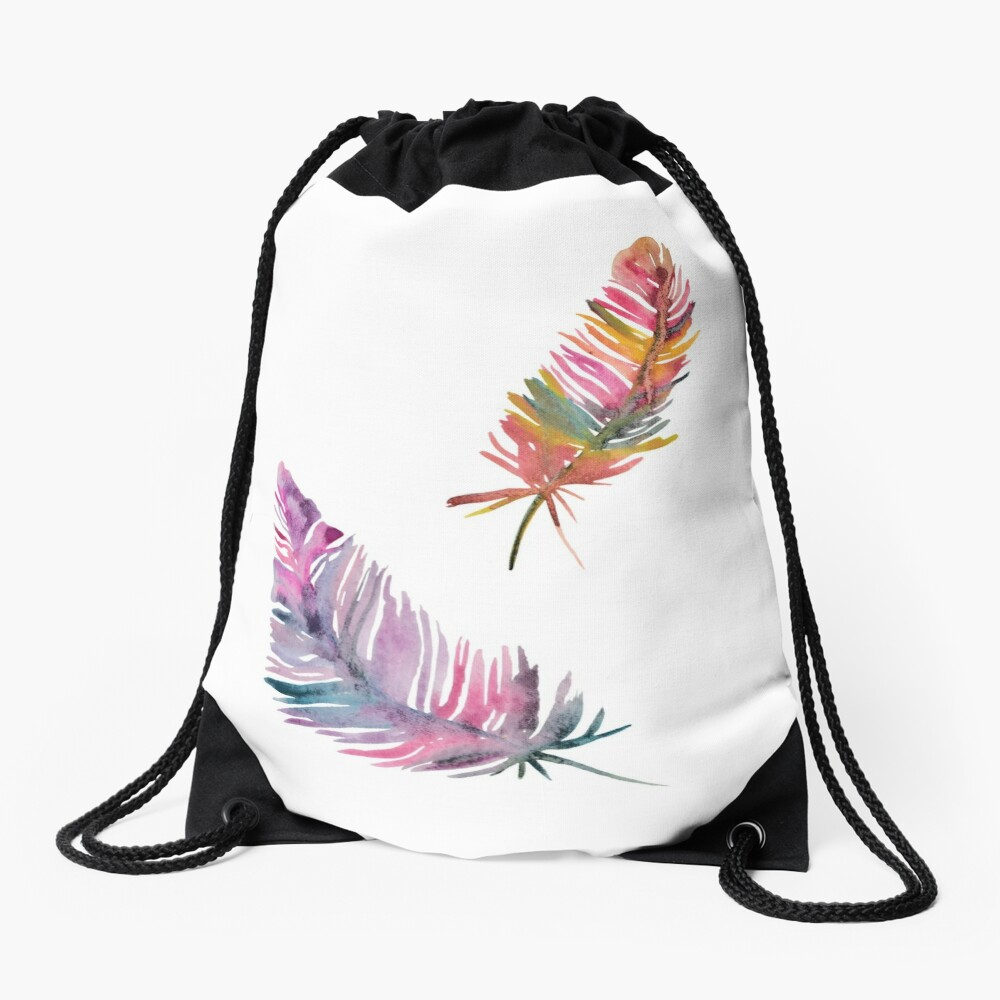 feathers Drawstring Bag