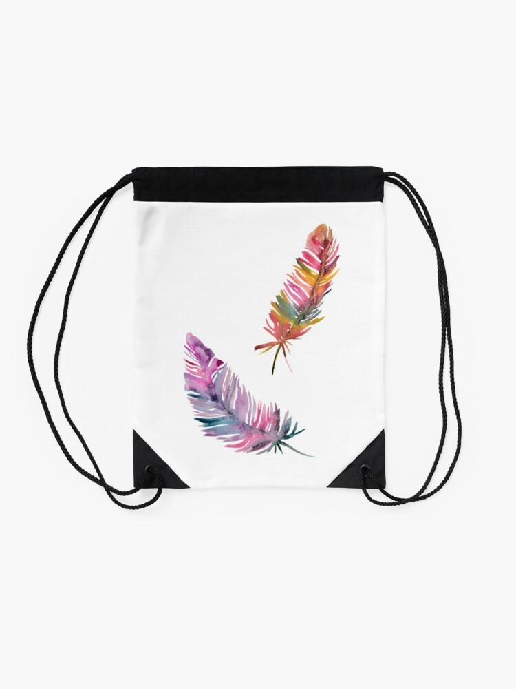 Alternate view of feathers Drawstring Bag