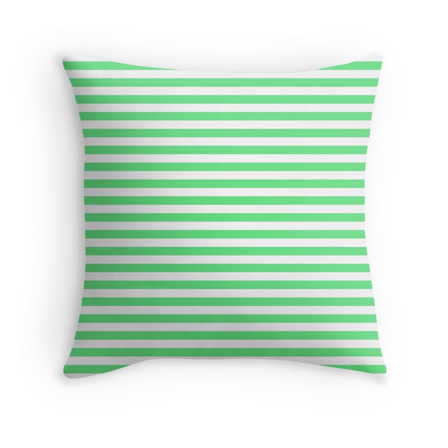 Algae Green and White Horizontal Deck Chair Stripes
