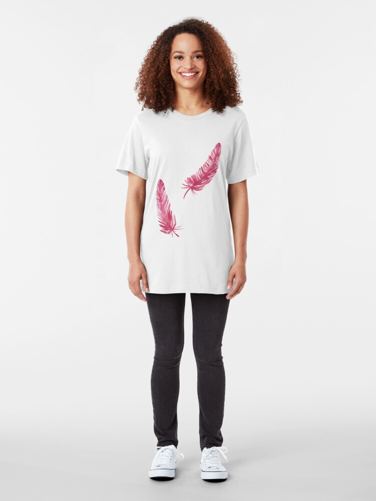 Alternate view of red feathers Slim Fit T-Shirt