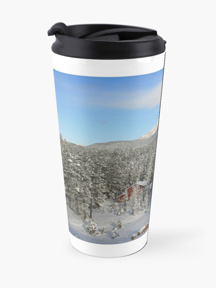 Alternate view of Winter Mug with Snow, Red House - From ccnow.info Travel Mug