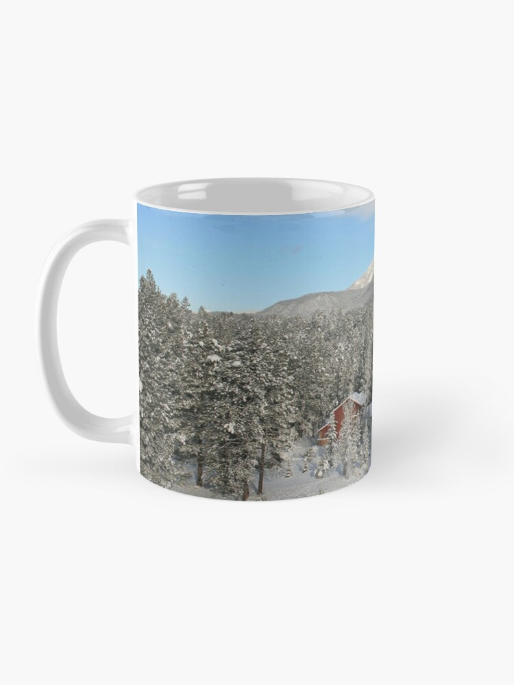 Alternate view of Winter Mug with Snow, Red House - From ccnow.info Mug