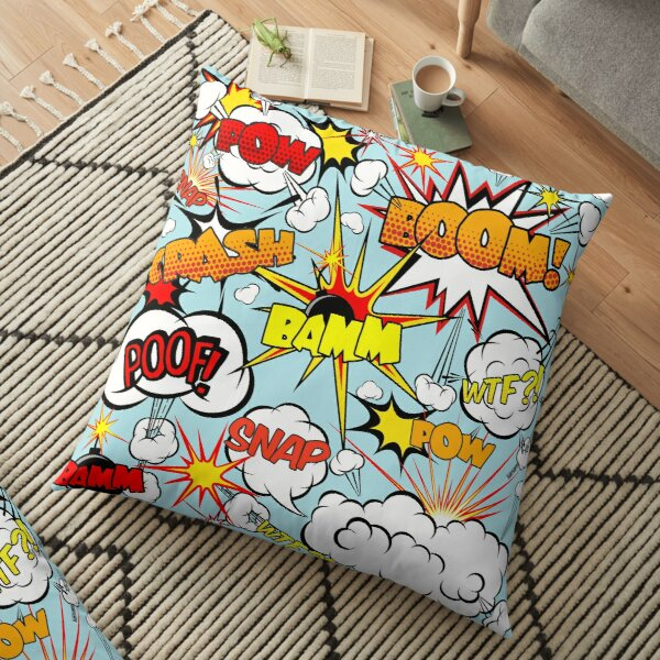 Pop art comic speech bubbles  Floor Pillow