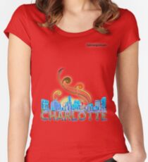 charlotte skyline panorama Women's Fitted Scoop T-Shirt