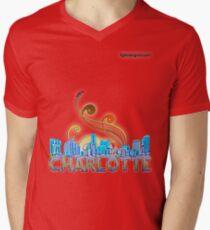 charlotte skyline panorama Mens V-Neck T-Shirt