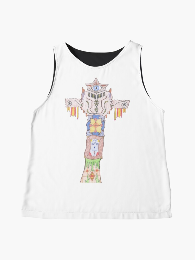 Alternate view of Merch #14 -- All-seeing Tassles Totem. Sleeveless Top