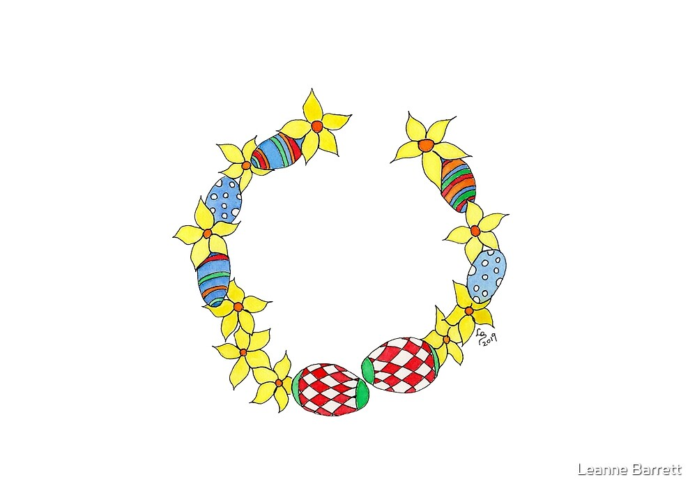 Easter Wreath of Daffodils and Easter Eggs by Leanne Barrett