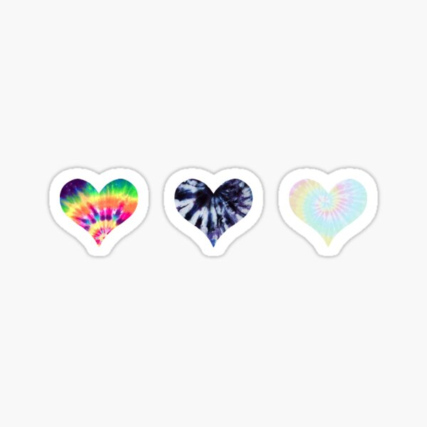 tie dye 3 hearts Sticker