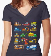 Excavators and vehicles at the construction site Women's Fitted V-Neck T-Shirt