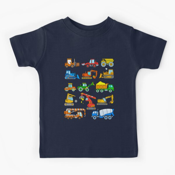 Excavators and vehicles at the construction site Kids T-Shirt