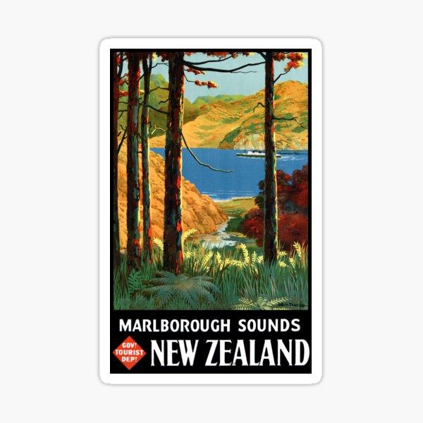 New Zealand Marlborough Sounds Vintage Poster Sticker