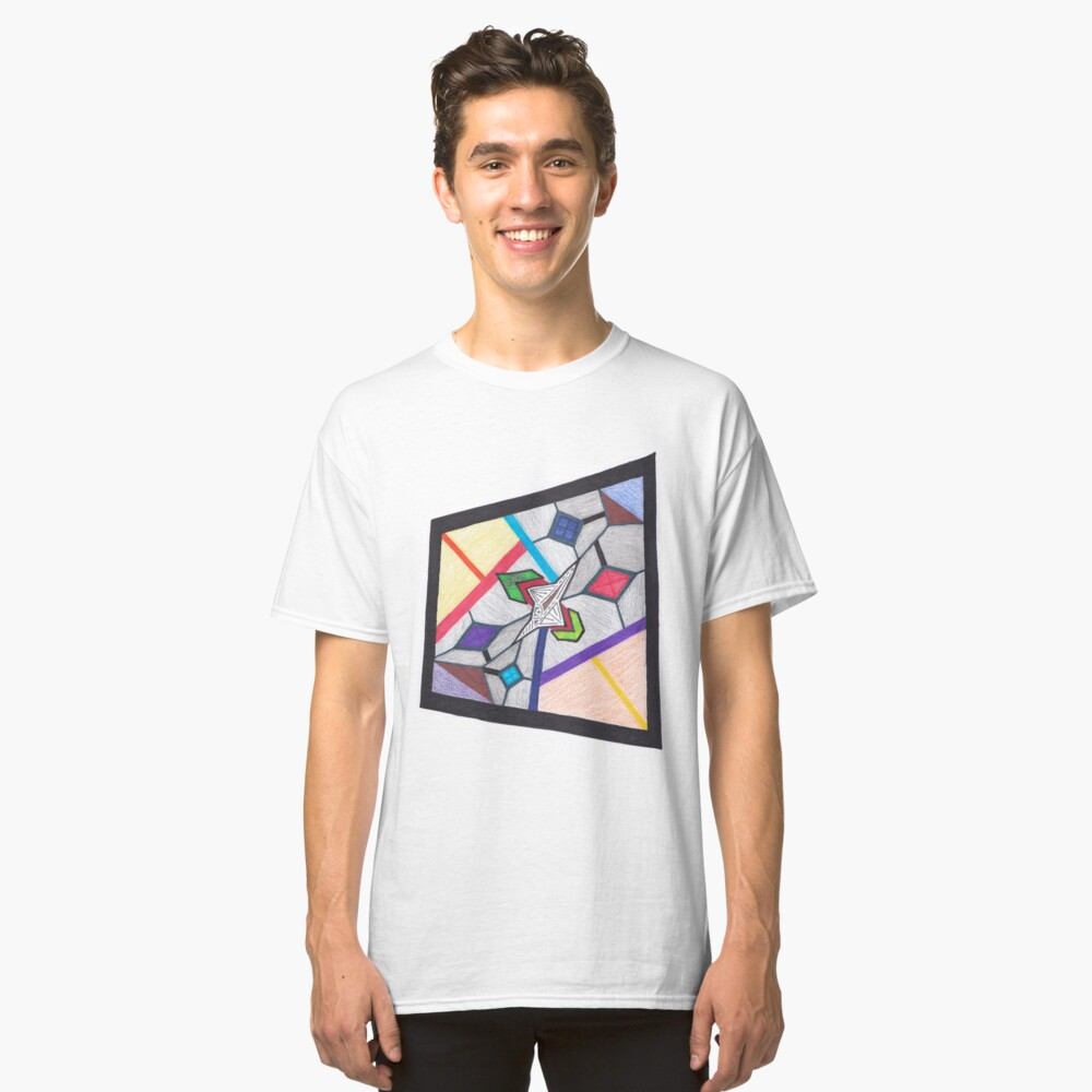 Merch #8 -- Glass Stained Abstract Pane. Classic T-Shirt