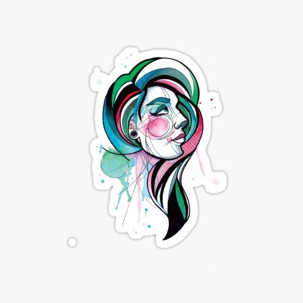 Pretty Watercolor Lady Sticker
