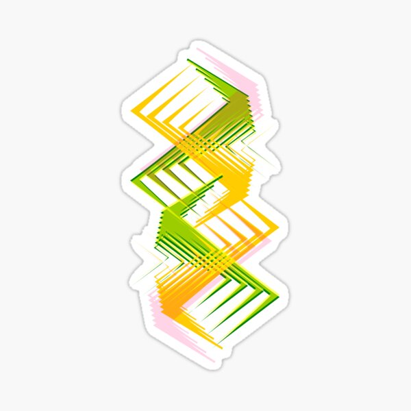 Green Yellow Zig Zag Sticker