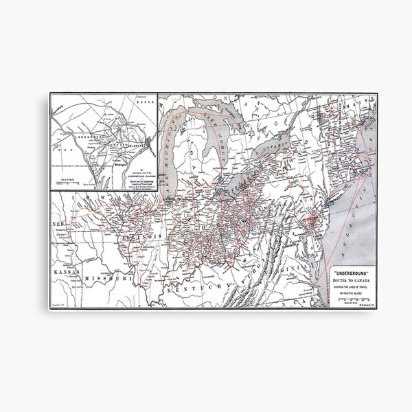Fugitive Slave Routes to Canada Underground Railroad Map  Canvas Print