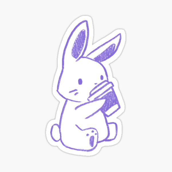 Bunny Coffee (Violet) Sticker