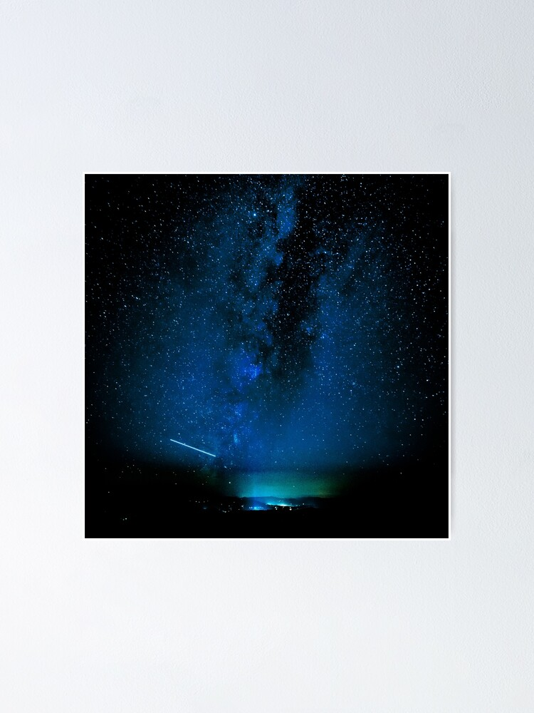 Alternate view of Stars and Space Night Sky - Blue Starry Milky Way in Arizona Poster
