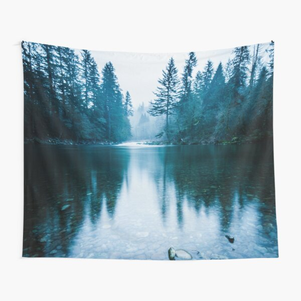 Forest Mountain Fog - Blue Lake Reflection Tapestry