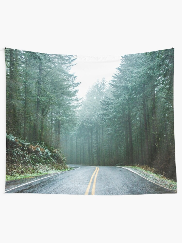 Alternate view of Forest Road Trip - Foggy Day Fir Trees Pacific Northwest Adventure Tapestry