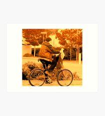 ridin a bike. Art Print