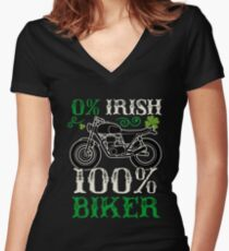 0% Irish 100% Biker T Shirt Women's Fitted V-Neck T-Shirt