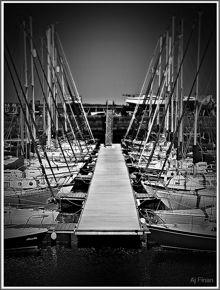 Sailboats In Tayport Harbour,Scotland by Aj Finan