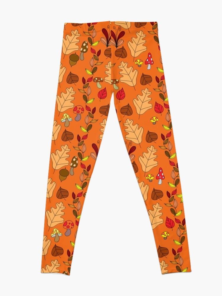 Alternate view of Orange Autumn Leaf Pattern Leggings