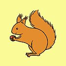 Red Squirrel with Nut by zoel