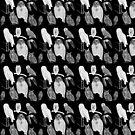 Owls White on Black Print Design by Melissa Park